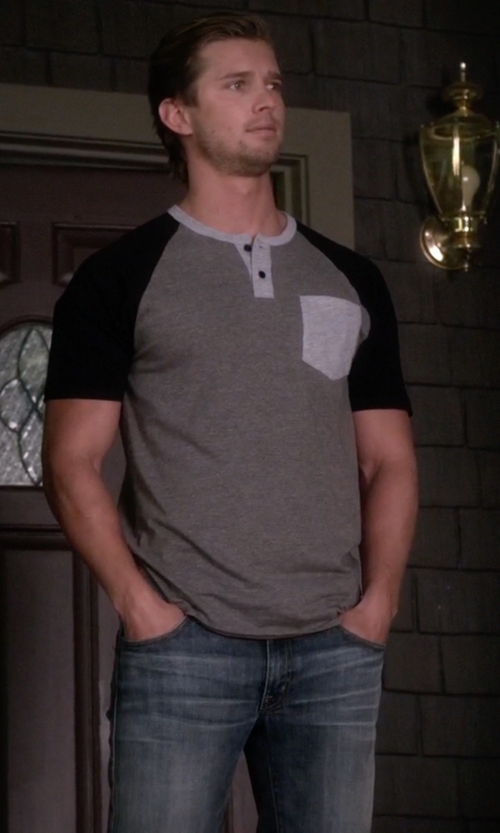 Drew Van Acker with Silver Jeans Zac Relaxed-Fit Straight-Leg Jean in Pretty Little Liars