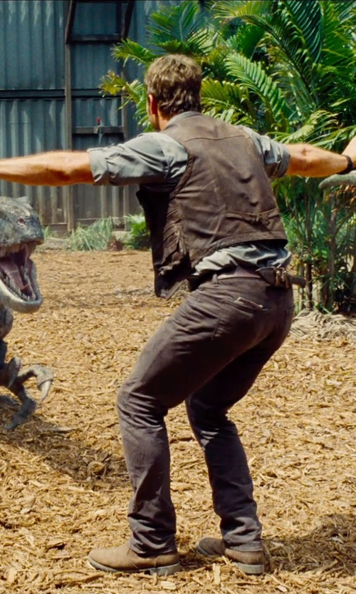 Chris Pratt with Eastland Men's Daily Double Jodhpur Boot in Jurassic World