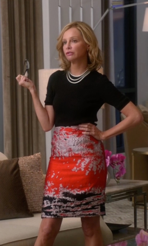 Calista Flockhart with MSGM Jacquard Midi Skirt in Supergirl