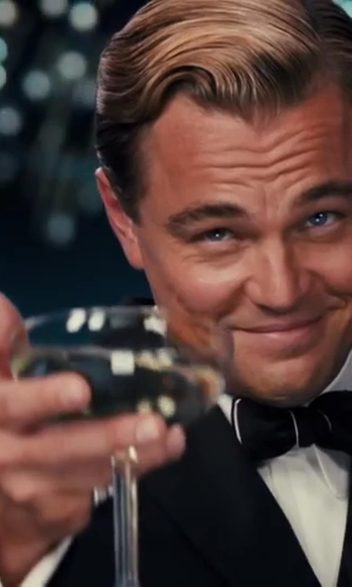 Leonardo DiCaprio with Waterford Elegance Champagne Belle Coupe Glass, Pair in The Great Gatsby