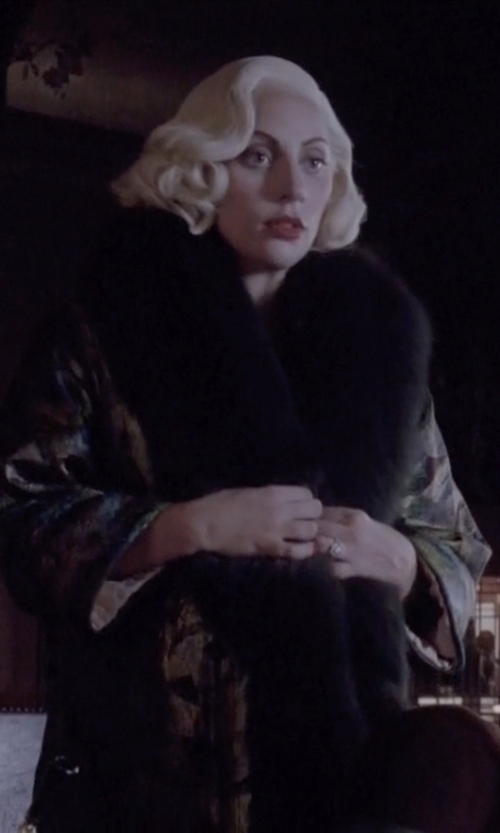 Lady Gaga with Sofia Cashmere Damask Brocade Wrap Coat in American Horror Story