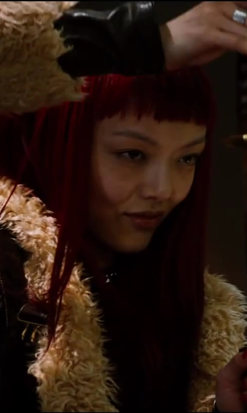 Rila Fukushima with Karl By Karl Donoghue Shearling Coat in The Wolverine
