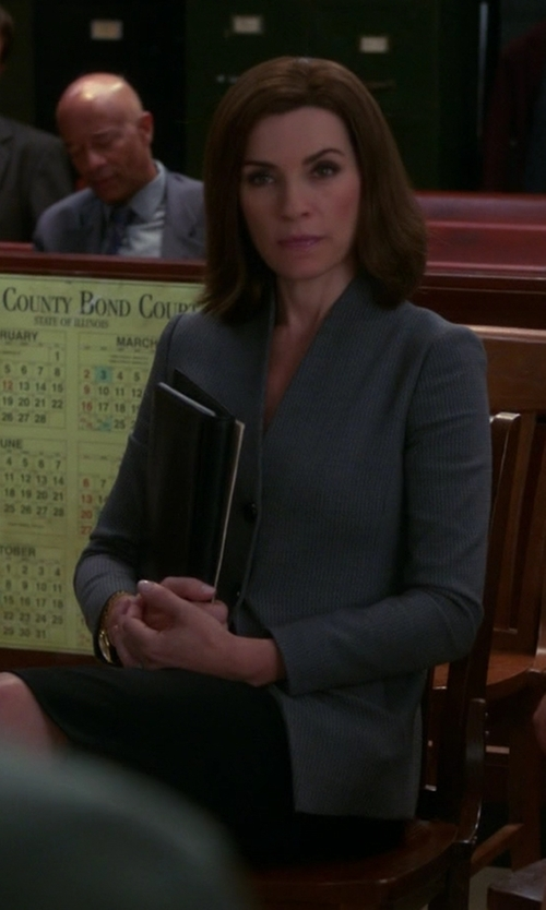Julianna Margulies with Armani Collezioni Two-Button Collarless Blazer in The Good Wife