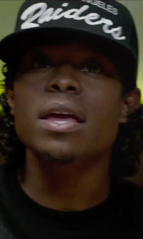 Jason Mitchell with Mitchell & Ness White Script Snapback Cap in Straight Outta Compton