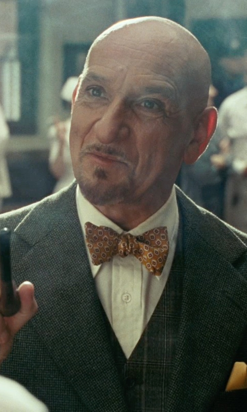 Ben Kingsley with Tombolini Plaid Wool Blend Vest in Shutter Island