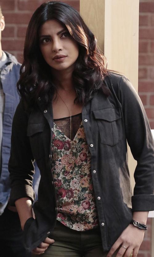 Priyanka Chopra with Moonlight Mysteries Silver Aum Om Symbol Bracelet in Quantico