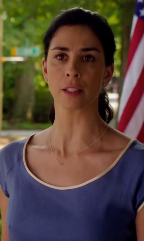 Sarah Silverman with Grace Lee Petite Crown Bezel Diamond Stud Earrings in Ashby