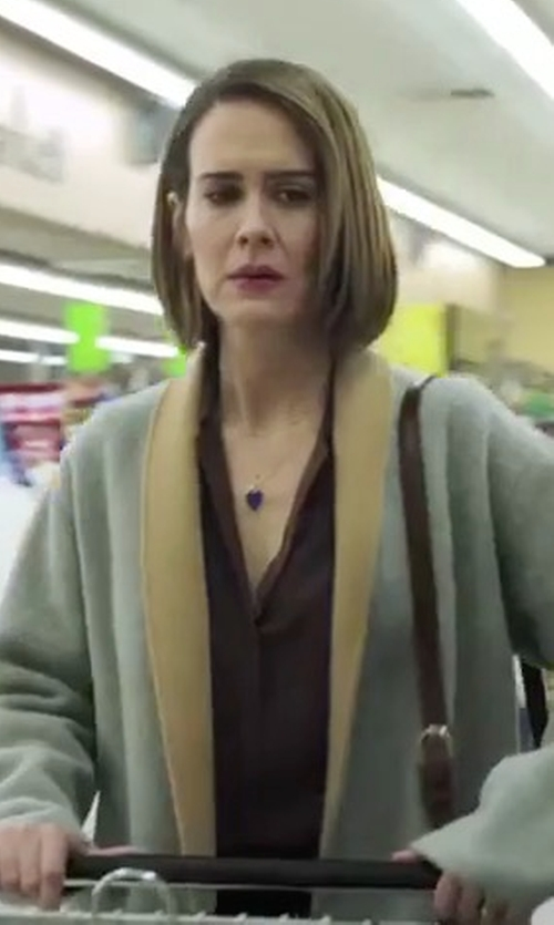 Sarah Paulson with Barneys New York Double-Faced Reversible Coat in American Horror Story