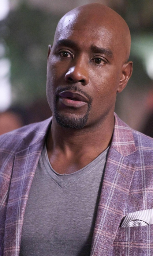 Morris Chestnut with AC Alessandro Cantarelli Check Blazer in Rosewood