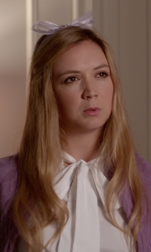 Billie Lourd with Tory Burch Tie Neck Stretch Silk Blouse in Scream Queens