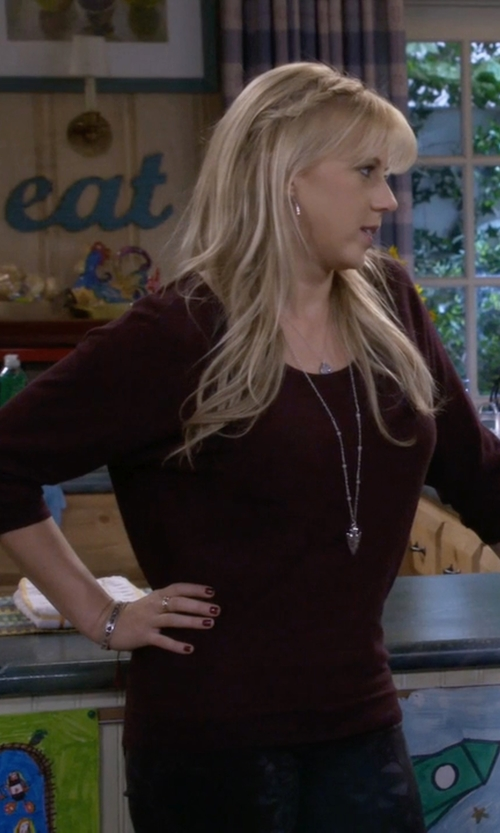Jodie Sweetin with Lacoste Long Sleeve Lurex Crew Neck Sweater in Fuller House