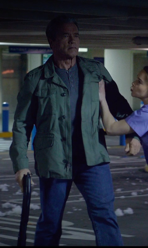 Arnold Schwarzenegger with A.P.C. Washed Petit New Standard Jeans in Terminator: Genisys