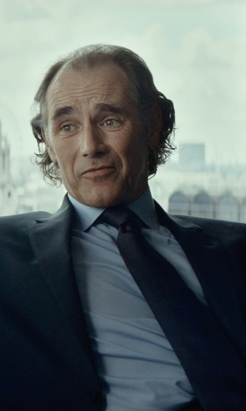 Mark Rylance with Brioni Micro-Check Cotton Shirt in The Gunman