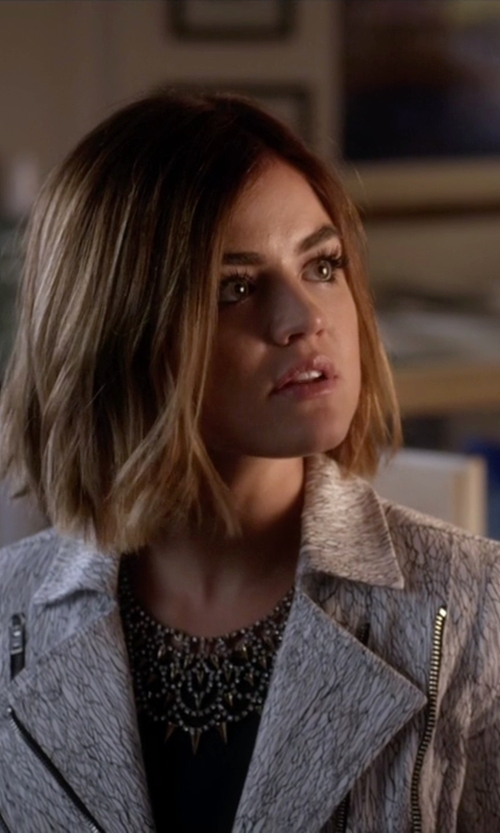 Lucy Hale with BaubleBar  Gothic Fang Bib Necklace in Pretty Little Liars