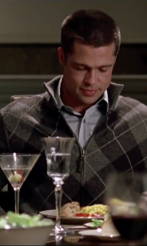 Brad Pitt with Enimay Argyle Zip Up Golf Long Sleeve Sweater in Mr. & Mrs. Smith