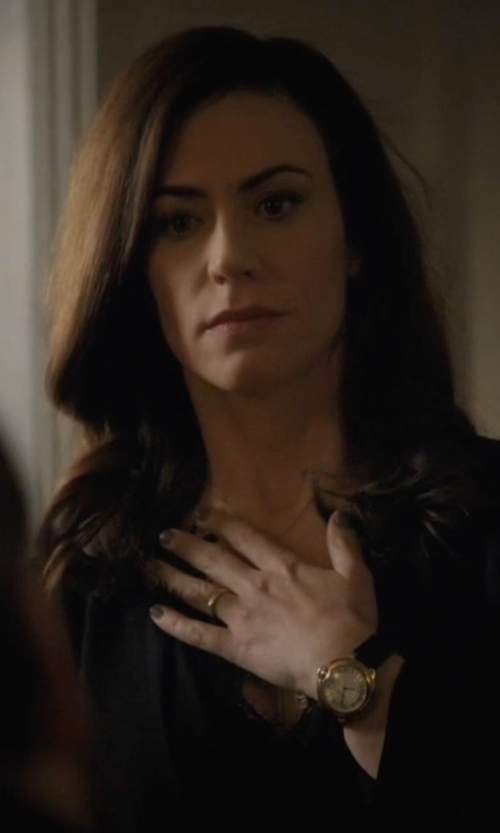 Maggie Siff with Versace Acron Mother-Of-Pearl  Leather Watch in Billions