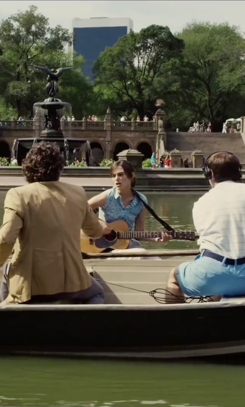 Keira Knightley with Rag & Bone Denim Button Front Tent Sleeveless Top in Begin Again