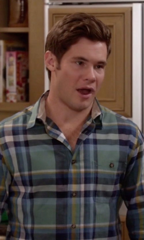Adam DeVine with Vince Trim Fit Plaid Sport Shirt in Modern Family