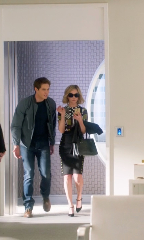Calista Flockhart with Dior Glossy 1 Acetate Oversize Sunglasses in Supergirl