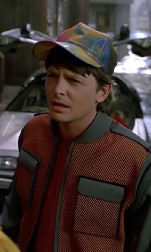 Michael J. Fox with Aurora Vison Holographic Hat in Back To The Future Part II