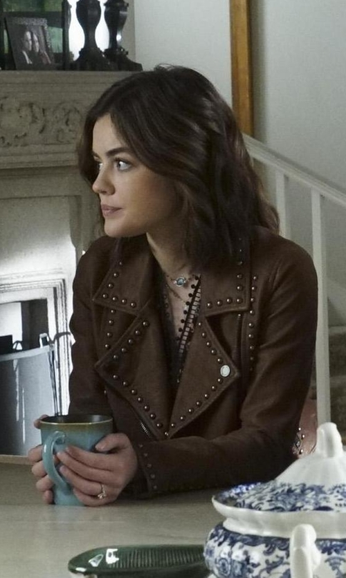 Lucy Hale with Blank NYC Rocky Rode Jacket in Pretty Little Liars
