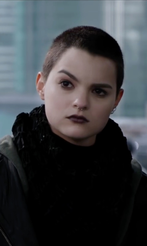 Brianna Hildebrand with Franklin & Marshall Oblong Scarf in Deadpool