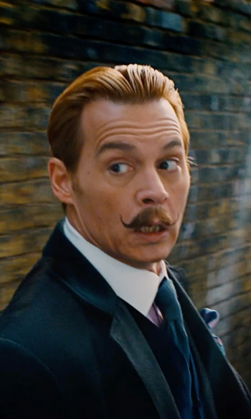 Johnny Depp with Salvatore Ferragamo Silk Twill Pocket Square in Mortdecai