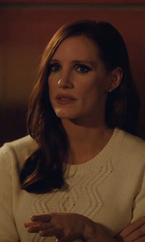 Jessica Chastain with Soft Joie Candessa Cable Knit Sweater in Molly's Game