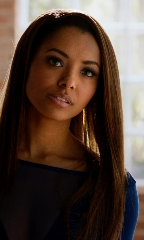 Kat Graham with The Kooples Lace Inset Jacquard Fit & Flare Dress in Addicted