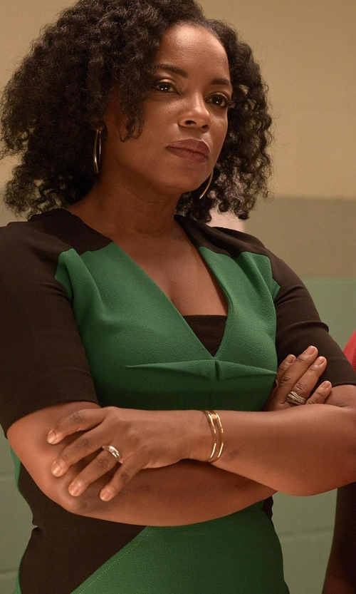 Aunjanue Ellis with Nue By Shani Colorblock Ottoman Knit Sheath Dress in Quantico