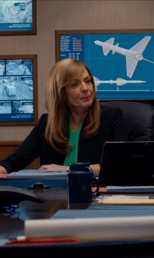 Allison Janney with Diane Von Furstenberg 'Gilmore' Blouse in Spy