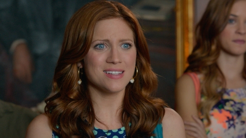 Brittany Snow with Juicy Couture Pave Flower Charm Hoop Earrings in Pitch Perfect 2