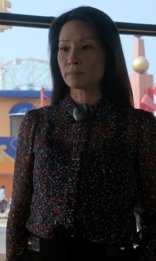 Lucy Liu with Diane von Furstenberg Mariah Splatter-Print Silk Blouse in Elementary