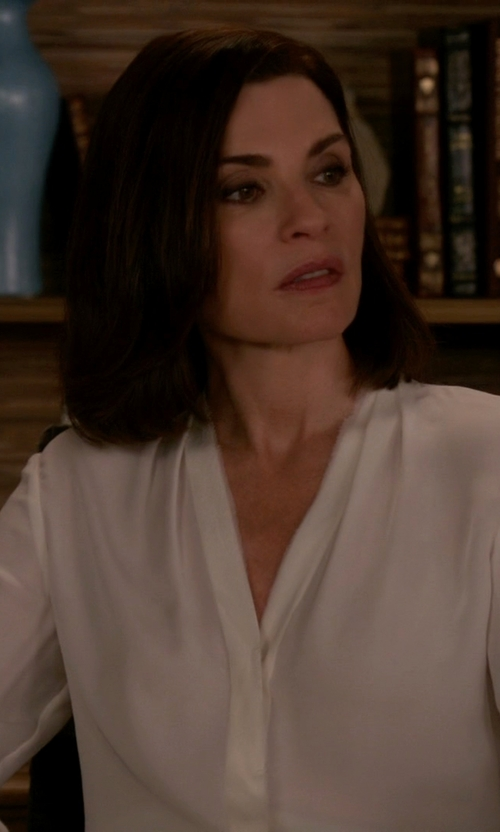 Julianna Margulies with Dion Lee Sheer V-Neck Blouse in The Good Wife