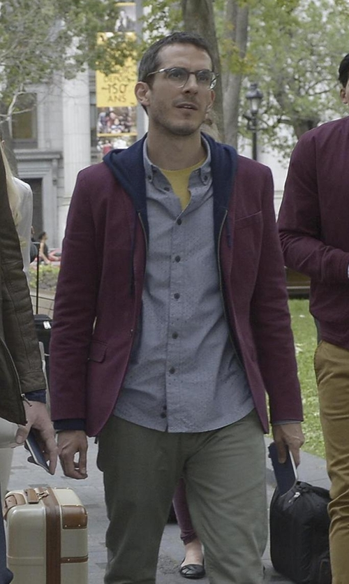 Tate Ellington with Tommy Hilfiger Men's Burgundy Corduroy Blazer in Quantico