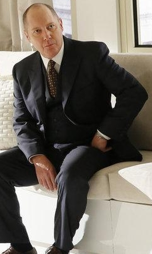 James Spader with Burberry Prince of Wales Three-Piece Suit in The Blacklist