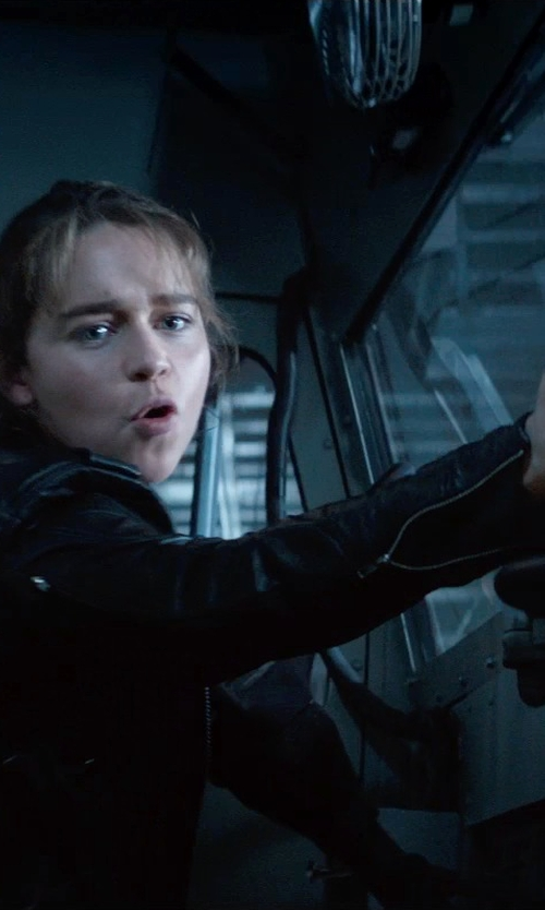 Emilia Clarke with BLK DNM Leather Biker Jacket in Terminator: Genisys