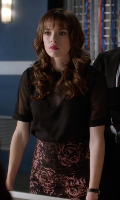 Danielle Panabaker with Ruby Rocks Floral Midi Pencil Skirt in The Flash