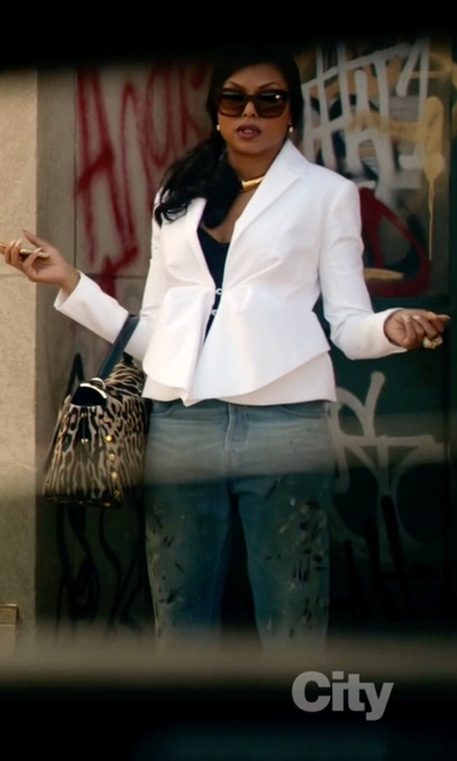 Taraji P. Henson with Givenchy Asymmetrical Peplum Blazer in Empire