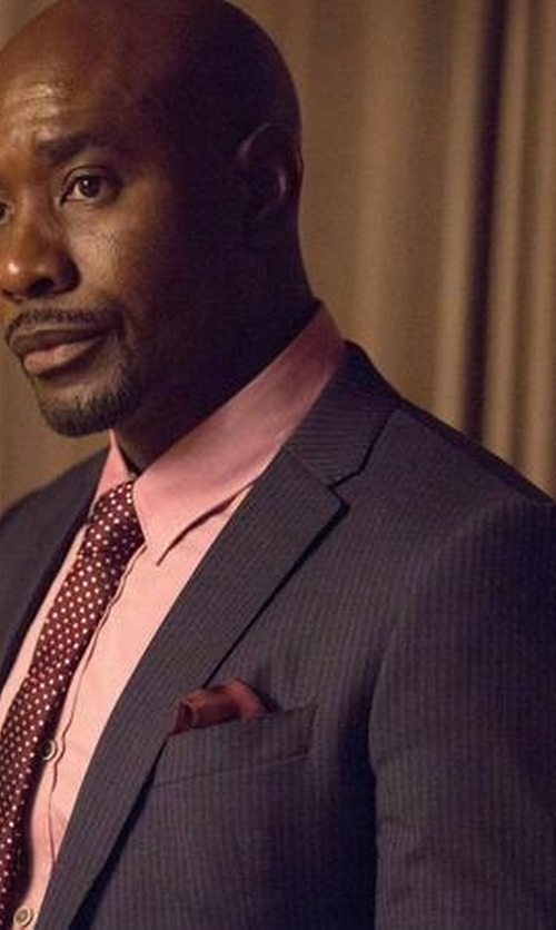 Morris Chestnut with Hickey Freeman Pinstriped Worsted Wool Suit in Rosewood