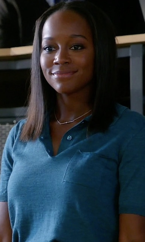 Aja Naomi King with Maison Margiela Knit Polo Shirt in How To Get Away With Murder