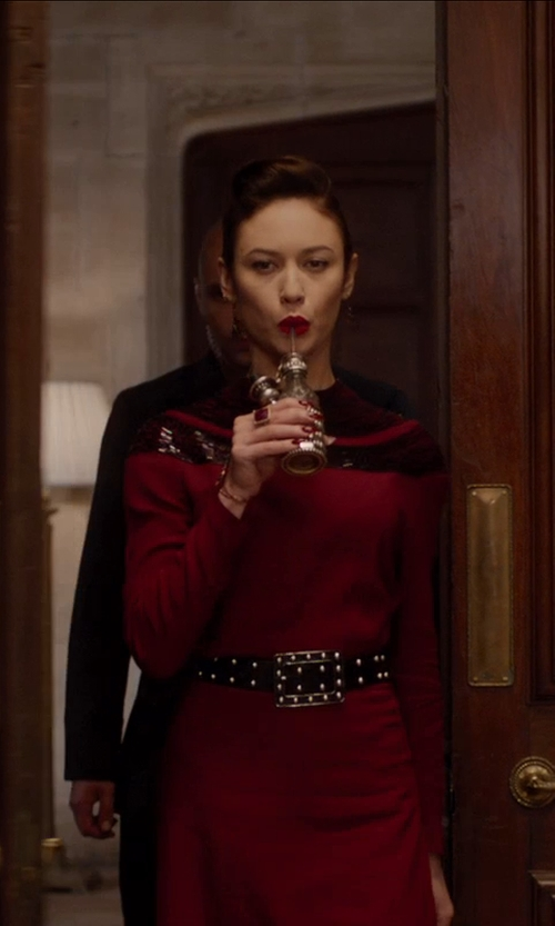 Olga Kurylenko with HAYDEN Burgundy And Black Jersey Knit Scalloped Beaded Trim Long Sleeve Dress in Vampire Academy