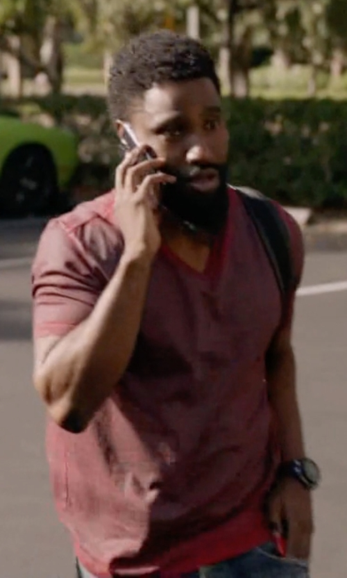 John David Washington with Maison Margiela Red T-Shirt in Ballers
