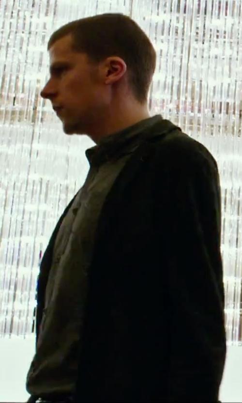Jesse Eisenberg with Black Wool-Blend Slim Suit Jacket in Now You See Me 2