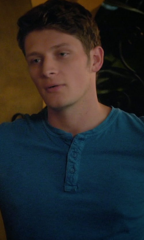 Brett Dier with Theory Gaskell Coasting Long-Sleeve Henley Shirt in Jane the Virgin