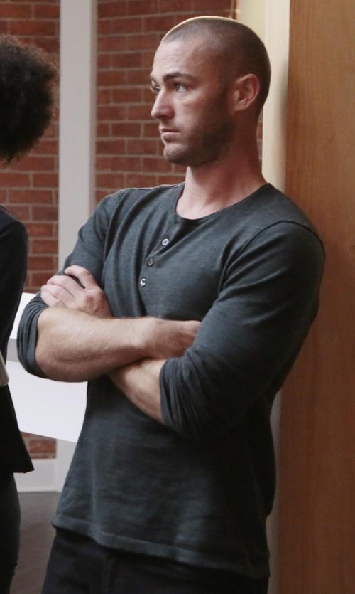 Jake McLaughlin with Majestic Paris for Neiman Marcus Cotton/Cashmere Long-Sleeve Henley Shirt in Quantico