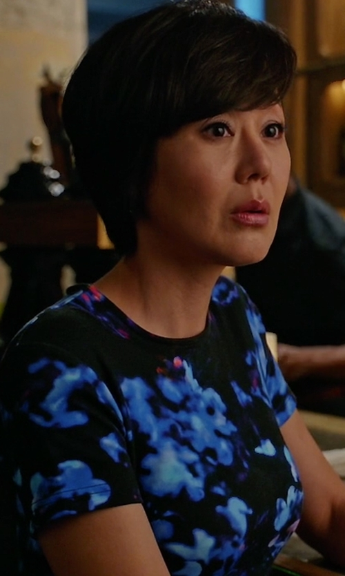 Yunjin Kim with McQ by Alexander McQueen Floral Print Body-Con Dress in Mistresses