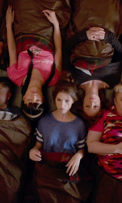 Anna Kendrick with Forever 21 Varsity-Striped Crop Top in Pitch Perfect 2
