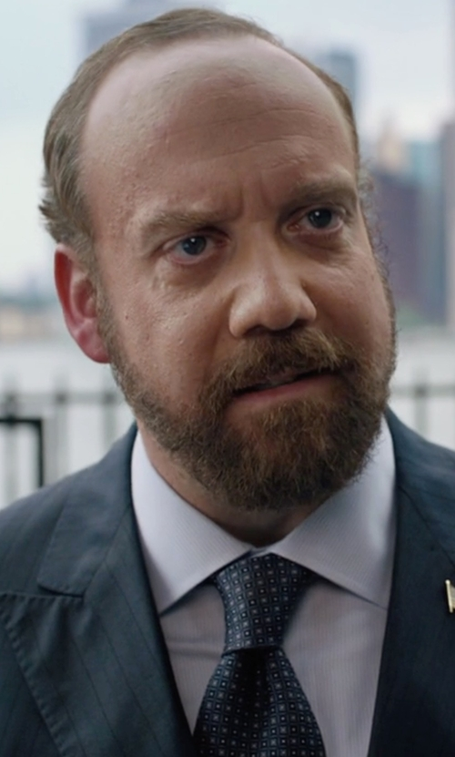 Paul Giamatti with Armani Collezioni Square & Dot-Print Silk Tie in Billions