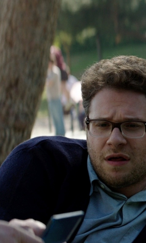 Seth Rogen with Hermitage Men's Button Cardigan in Neighbors